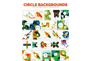 Set of vector circle backgrounds with places for text, icon or photo