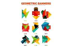 Set of vector bright colorful empty geometric banner info boxes