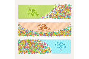 Easter banners set of colorful eggs