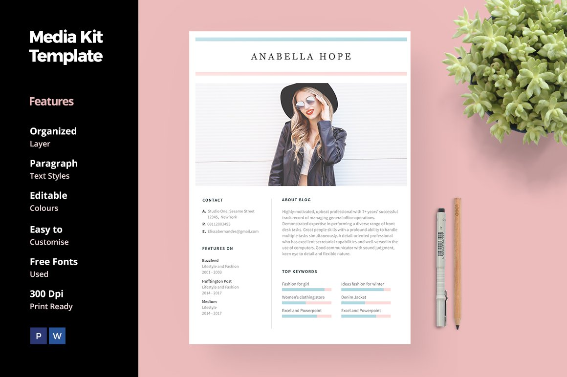 Media kit template for blogger social media templates for Online media kit template