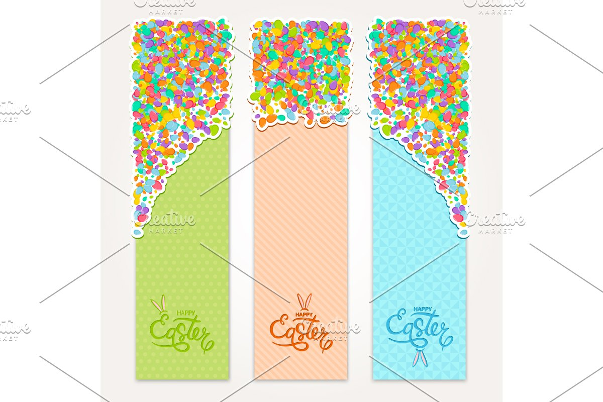 Easter vertical banners set