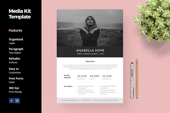 Media Kit Template For Blogger Social Media Templates Creative
