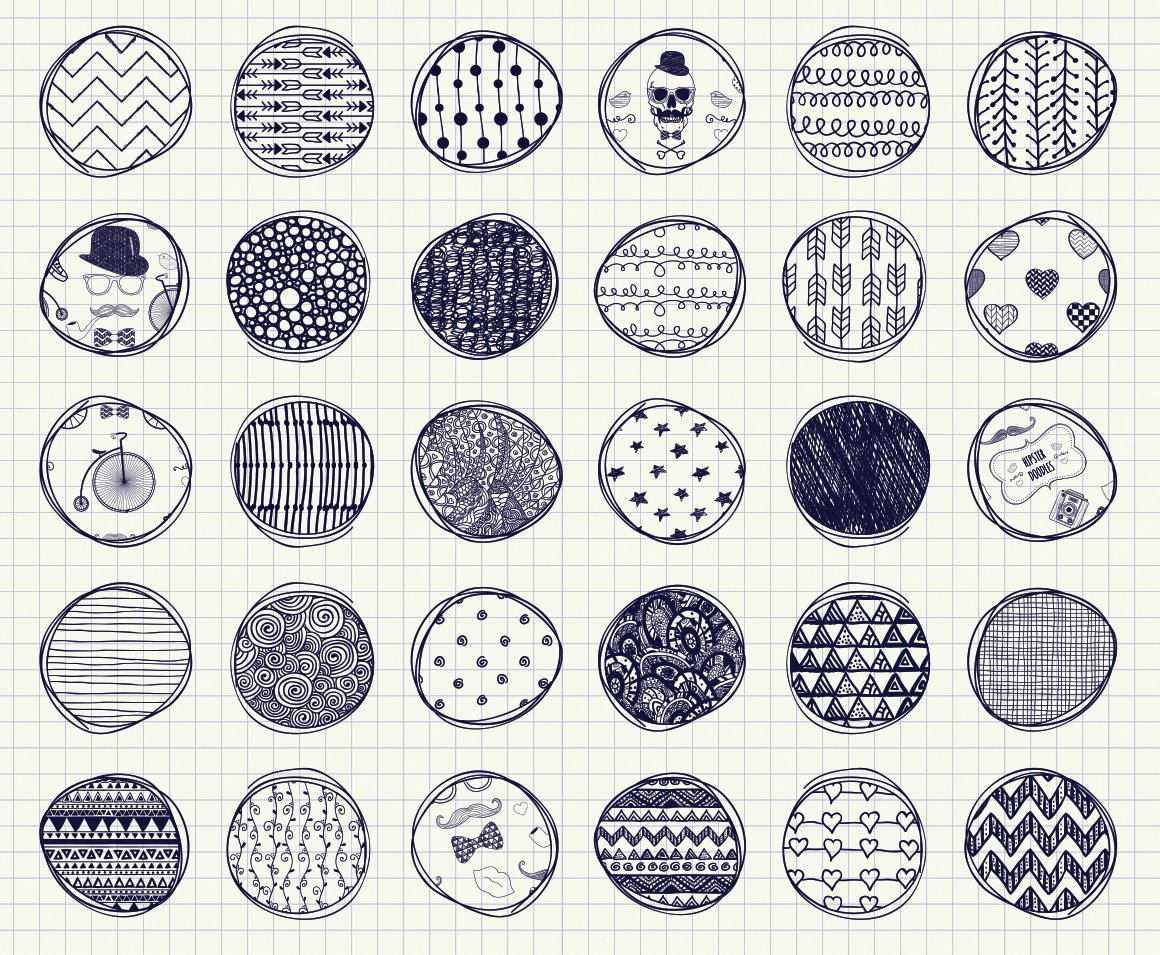 32 Pen Drawing Seamless Patterns Graphic Patterns