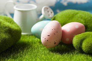 Easter eggs on the grass