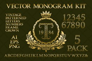 Vintage monogram kit pack 5