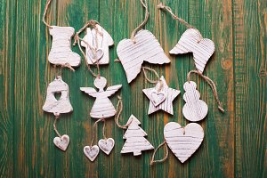 Wooden carved Christmas toys