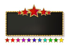 Retro frame with five stars set
