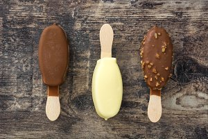 Chocolate ice cream popsicles