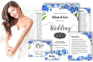 Wedding invitation myosotis DiY