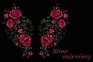 Vector trendy roses embroidery