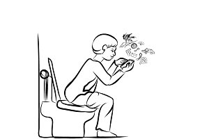 Man using mobile phone in toilet
