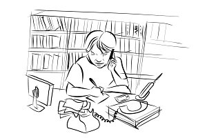 Drawing of man working at desk