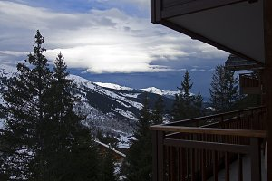 View from the balcony in ski resort