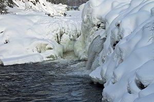 Kivach waterfall in winter.
