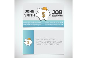 Business card print template with piggy bank logo