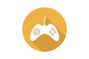 Gamepad flat design long shadow icon