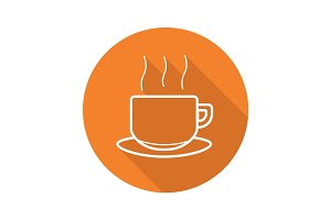 Steaming cup flat linear long shadow icon