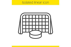 Ice hockey gate and puck linear icon