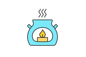 Spa salon aroma candle color icon