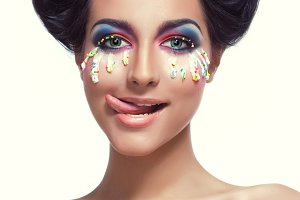 Woman with Creative easter makeup