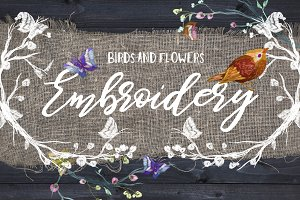 Embroidery: flowers and birds
