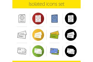 Travel documents icons set