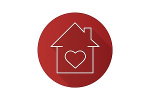 Lovers home flat linear long shadow icon