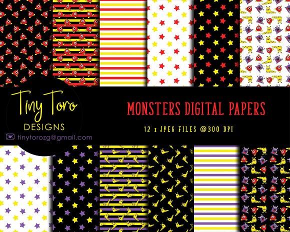 Monsters Digital Papers Pack