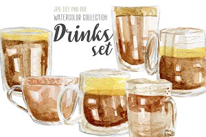 Watercolor drinks set