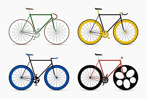Bicycles set. Retro fixed bikes.