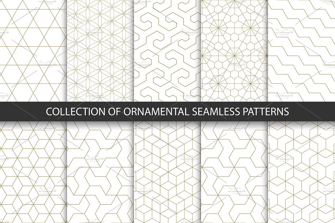 collection of ornamental seamless patterns 10 gold works 2