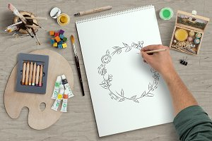 Roughly hand drawn floral wreath