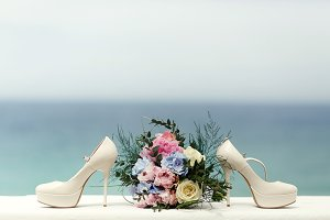 White shoes and rich bouquet