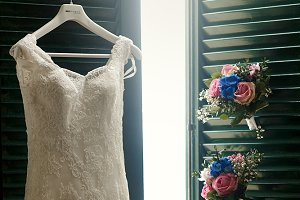 Beautiful wedding dress and bouquets