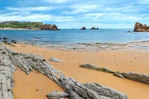 Arnia Beach coastline, Spain.