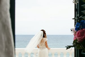 Look from the house on a bride