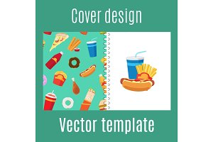 Cover design with fast food pattern