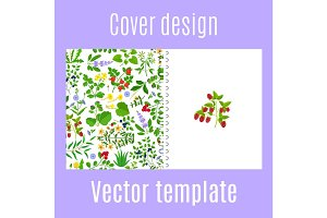 Cover design with herbs, berries pattern