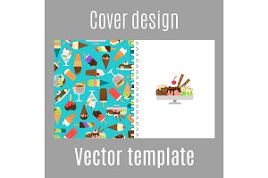 Cover design with ice cream pattern