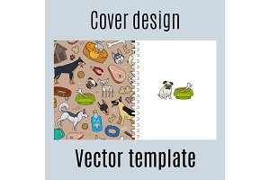 Cover design with cute dogs pattern