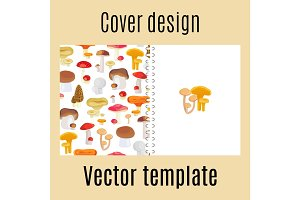 Cover design with forest mushrooms pattern