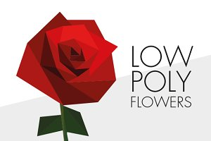Low poly flowers pack