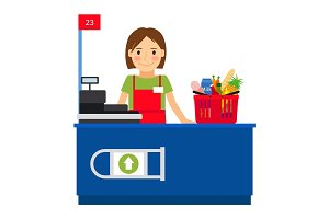 Cashier woman and shopping cart