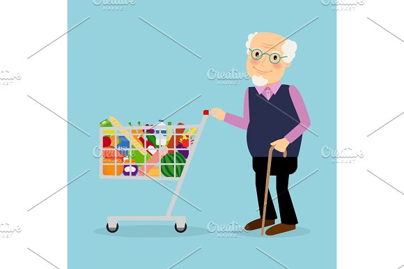 Grandfather With Shopping Cart With Groceries