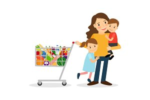 Woman with kids and shoping cart