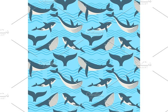 Vector Seamless Pattern With Whale In Ocean Waves