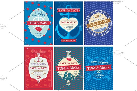 Wedding Invitation Vector Cards With Nautical Design Anchors And Waves Hearts And Ships