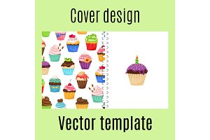 Cover design with cupcakes pattern