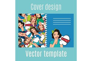 Cover design with popart women pattern