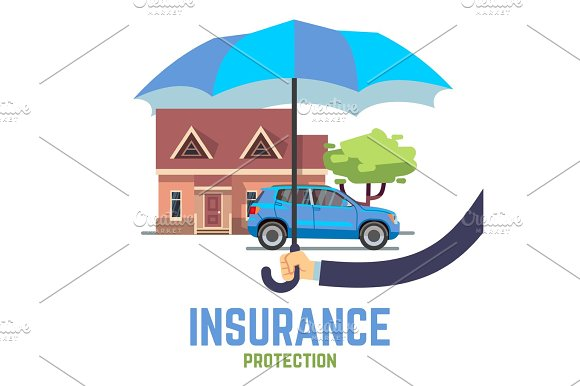Insurance Vector Flat Safe Concept With Hand Holding Umbrella Over House And Car